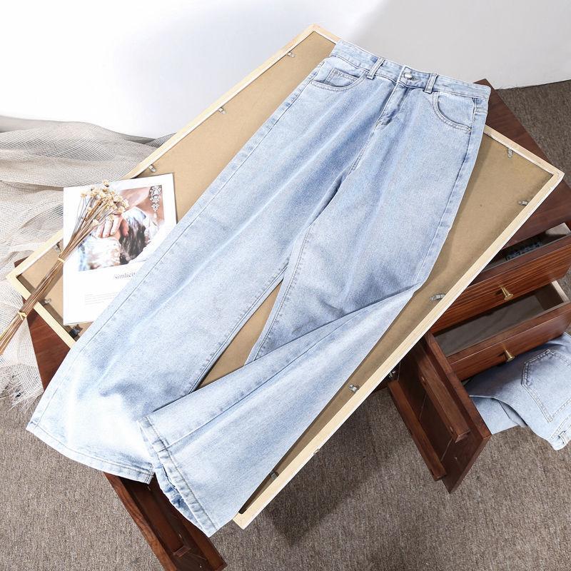 Pantaloni azzurro Blue Denim Pantaloni Vintage Gamba Pantaloni Gamba Donne Coreane Straight Lunga vita alta Casual Allentato con cintura 2021 Jeans da donna d'autunno