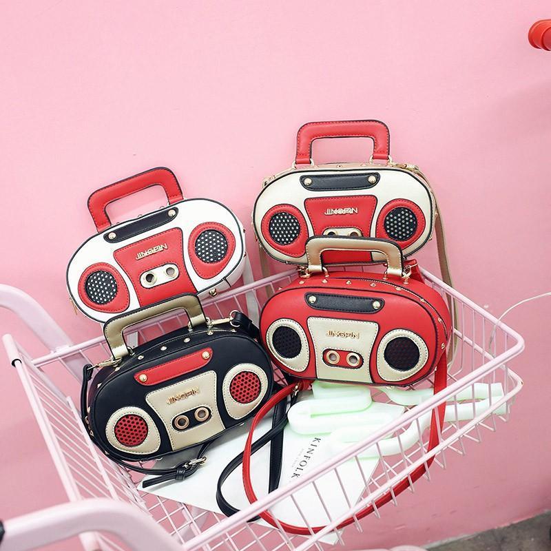 재미있는 성격 패션 레트로 라디오 디자인 숙녀 캐주얼 totes 어깨 가방 핸드백 여성 크로스 바디 미니 메신저 플랩 가방