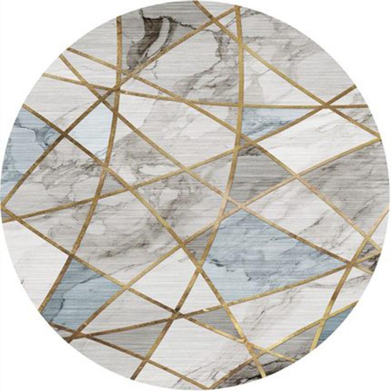 Tapis Nordic Tapis rond Géométrique bleu clair tapis pour salle de séjour Decor Chaise de chevet Chaise de chevet Cloakroom Anti-Skid Mat