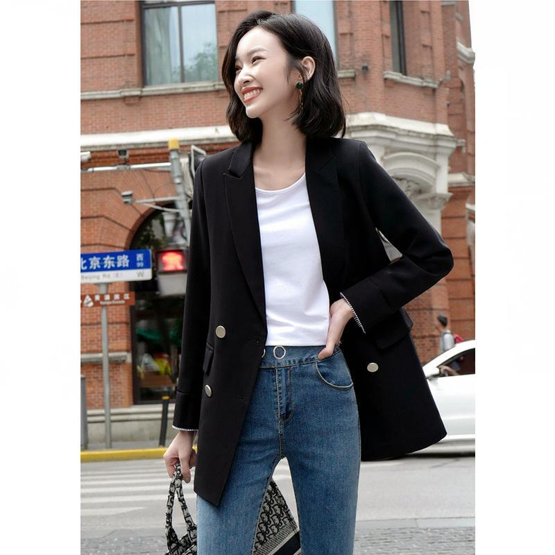 Women Clothes Gray Suit Jacket Female Long-sleeved Temperament Autumn Casual British Long Plus Size Women's Suits & Blazers
