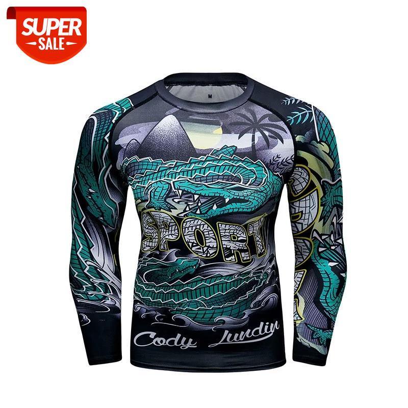 Lobo 3D impresso t-shirt compressão collants homens fitness corrida de corrida respirável manga longa esportes Rashgard ginásio ciclismo roupas # 0v55