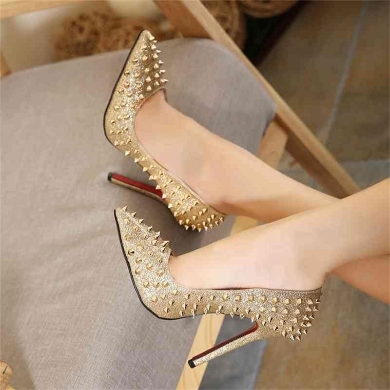Europa e América estilo rivet moda personalidade fina sapatos de salto alto feminino 210427