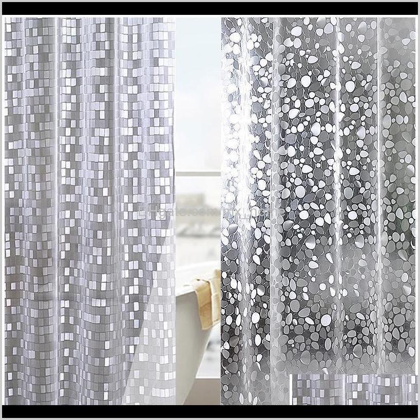 Plastic Pvc 3D Waterproof Shower Transparent White Clear Bathroom Anti Mildew Translucent Bath With 12 P Wmtide Bllss Cushion Cover Yxylk