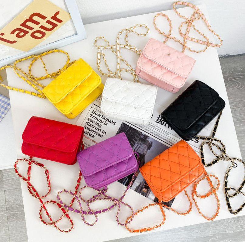 Luxury Kids square Handbag Girls diamond lattice crossbody Bag INS Children Chain Single-shoulder Bags Girl Princess Purse A7074