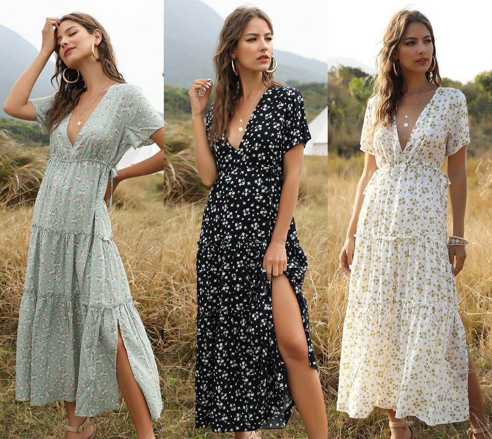 Mulheres vestido boêmio casual flutter sleeve verão floral impressão moda split long dresses v neck roupas