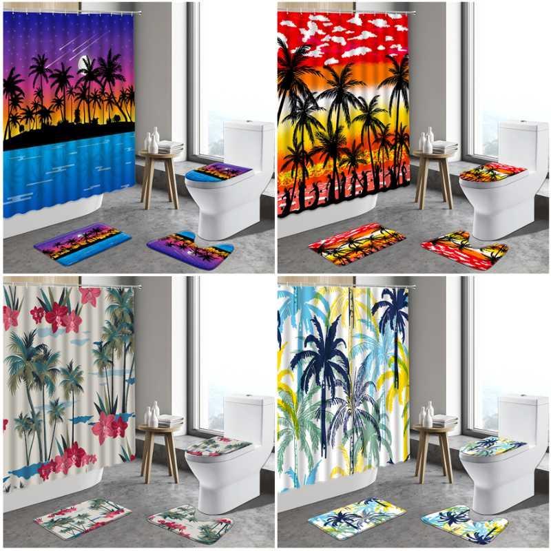 Chuveiro Cortinas Pôr do sol Coconut árvores Cortina Planta Flor Pintado à Mão de Arte Decoração Padrão de Fundo Banheiro Non-Slip Tapetes de Banho
