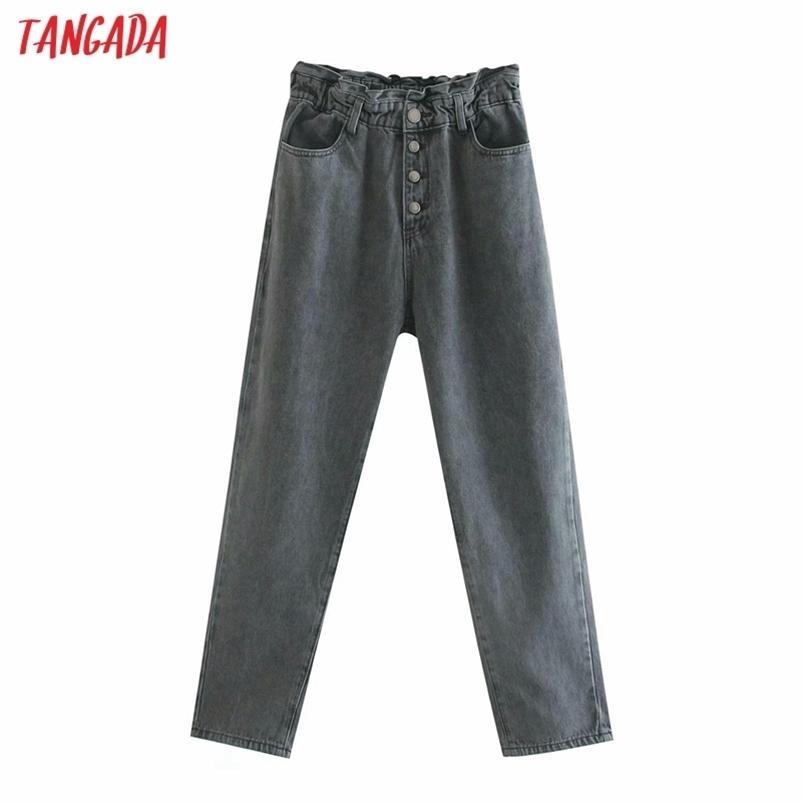Tangada moda mujeres sueltas pantalones pantalones pantalones largos pantalones de cintura de la cintura botones pantalones femeninos 6p7 210322