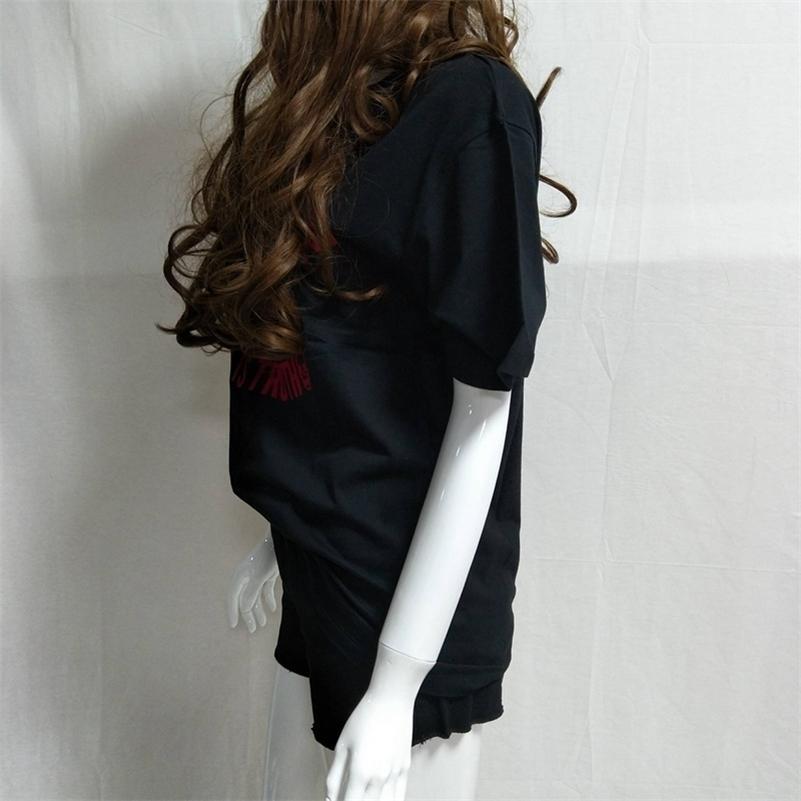 T-shirt da donna Estate Estate New Women's Cotton manica corta Lettera stampa manica corta T-shirt 210317