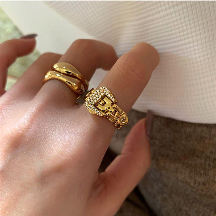 Kettenglied Ring für Frauen Gold Wide Band Statement Ringe Stilvoller Schmuck einzigartiger Knöchelstapel Finger Einstellbar