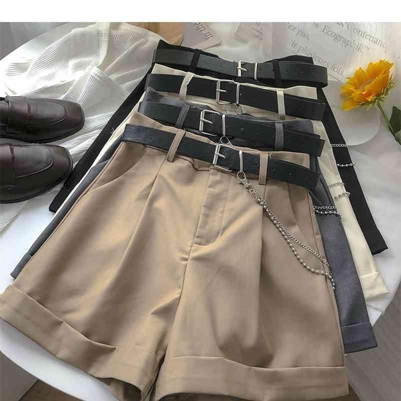 Ashgaily Neue Shorts Frauen Vintage Schärpen Alle Spiele Solide Hohe Taille Shorts Casual Lose Damen XL 210324