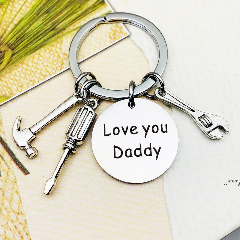 Vatertag Edelstahl Keychain Geschenke Zubehör, wenn Papa es nicht beheben kann Letter gedruckt Hammer Schraubendreher Wench Werkzeug Schlüsselanhänger