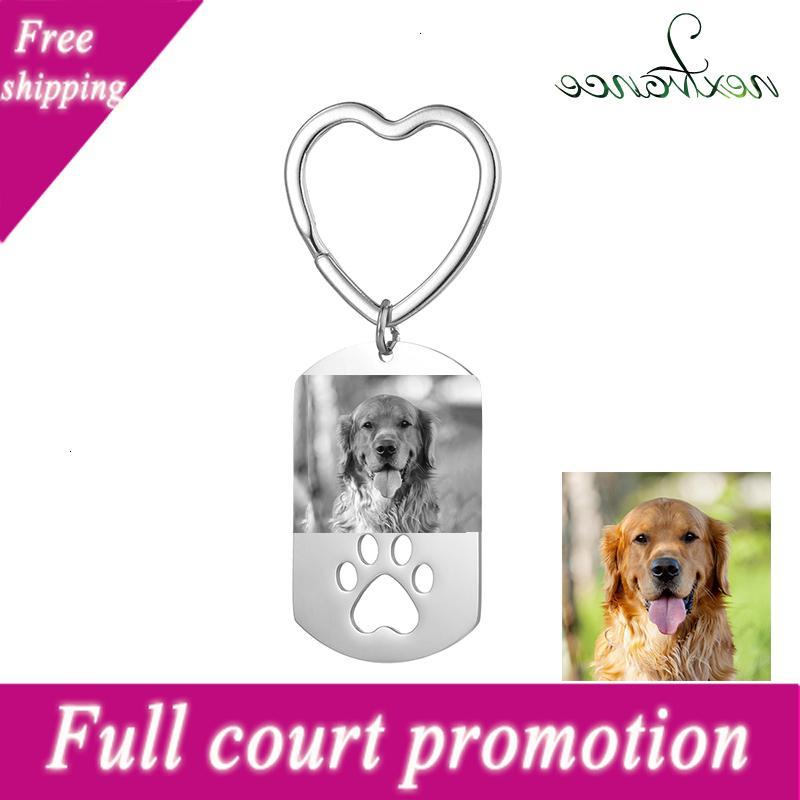 Nextvance Porte-clés de photo gravée en acier inoxydable pour l'acier inoxydable pour l'amour Personnes Dog Keepsak
