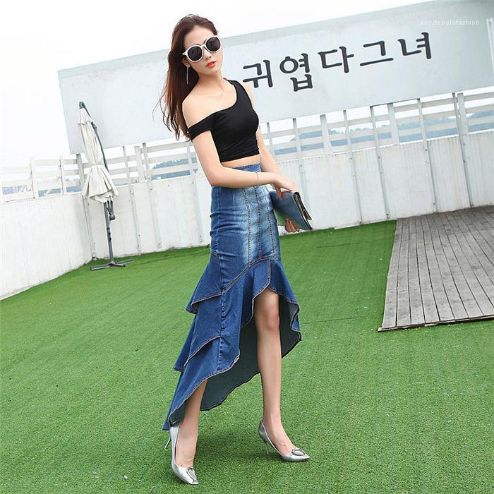 Panelled Large Hem Denim Fishtail Skirt Casual Womens Summer Mermaid Womens Designer Jeans Skirt Fashion Irregular