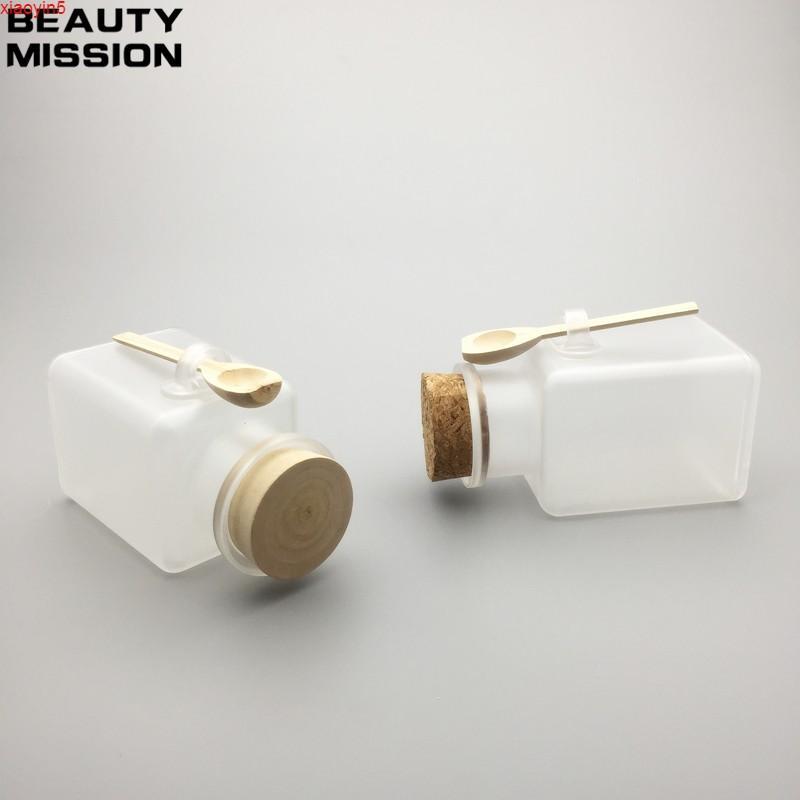 Высокая квятностьбиемая миссия 12 шт. / Лот 300 г квадратная ванна соль ABS бутылка, 300 мл порошковая пластиковая бутылка, бутылка с деревянной ложкой