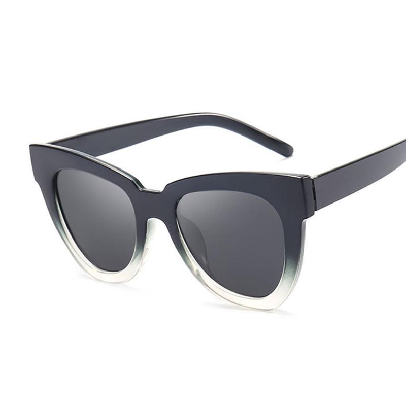 Moda de gran tamaño Sexy señoras gato ojo gafas de sol mujeres vintage marca espejo gafas de sol femenino oculos UV400