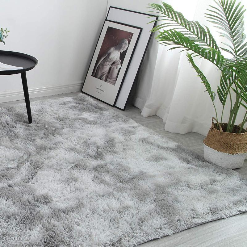 Carpets Grey Carpet Tie Dyeing Plush Soft For Living Room Bedroom Anti-slip Floor Mats Water Absorption Rugs