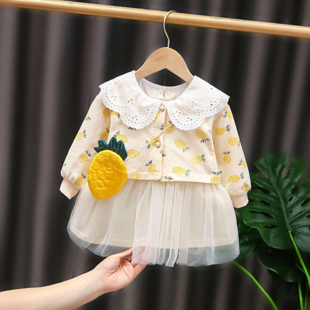 Vis d'enfant Viseline d'enfants Filles pour enfants Style d'extérieur du bébé coréen TOP et jupe 2 pièces Sac à la mode Petite fille