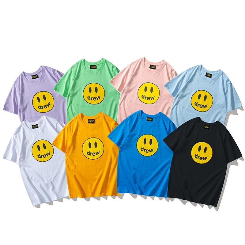 망과 여자 짧은 소매 티셔츠 멀티 컬러 드류 편지 대형 여름 Tshirts Streetwear 캐주얼 탑