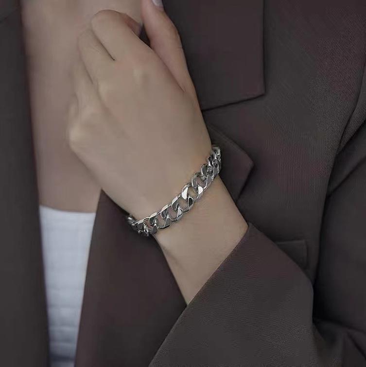 티타늄 스틸 링크 팔찌 트렌디 힙합 넓은 금속 체인 팔찌 실버 클립 체인 여성을위한 19cm 보석 선물