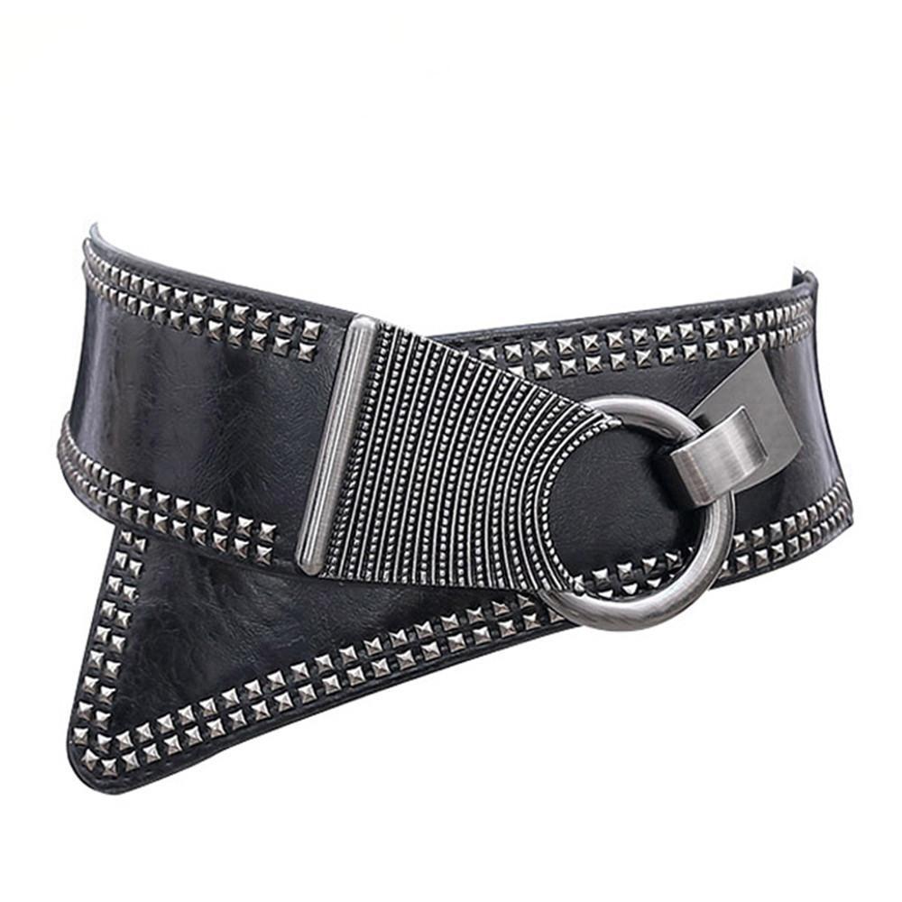 Moda Punk Rocker Cintos Largos com Revets Studs Elastic Pu Chair Cinto De Cinto De Metal redondo fivela para mulheres senhoras meninas 0210