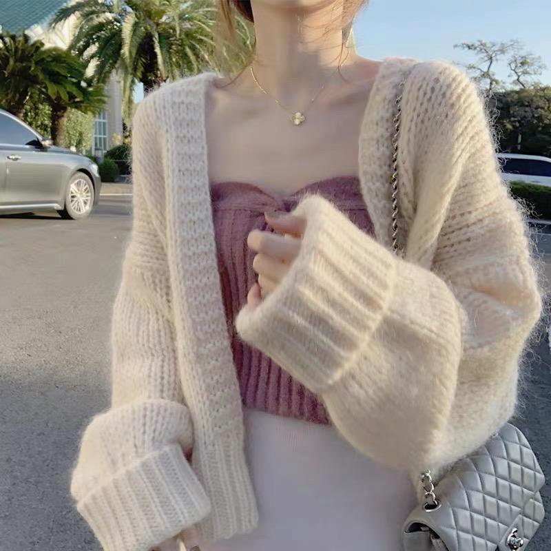 특대 스웨터 여성 카디건 느슨한 여자 코트 캐주얼 패션 니트 솔리드 의류 2021 Khaki Beige의 니트 티셔츠