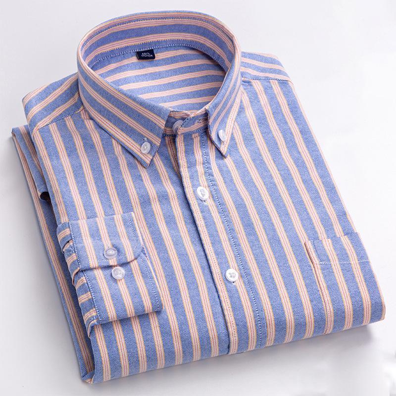 품질 100 % 코 튼 옥스포드 브랜드 남성 셔츠 의류 스트라이프 사회 공식 비즈니스 버튼 드레스 셔츠 주머니 캐주얼