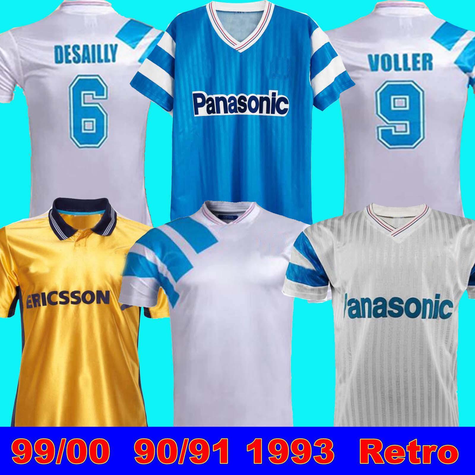 99 00 Olympique De Marseille 축구 셔츠 Deschamps Papin Boli Desailly Voller Retro 98 99 1993 축구 유니폼