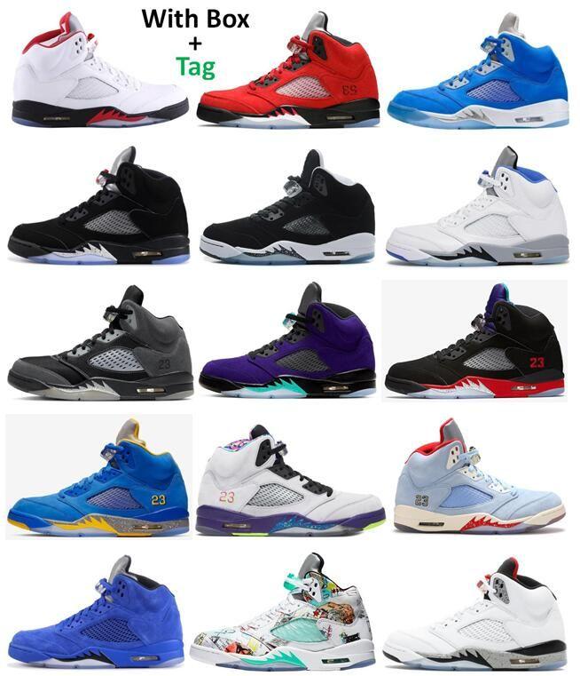 5 S Yangın Kırmızı Raging Bull Bluebird Siyah Metalik Basketbol Ayakkabıları Erkekler 5 Oreo Antrasit Mavi Süet Alternatif Bel Top 3 Üzüm Saten Bred Wings Beyaz Çimento Sneakers