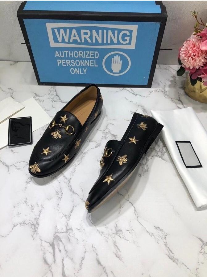 """Erkekler Kadınlar Moda Loafer'lar Rahat Ayakkabılar Siyah Deri Elbise Sürücü Sneakers Çizmeler Fırçalanmış Roisnylon Monolith Kauçuk Sırtı Sole 7 """"Topuk Boyutu 36-46"""