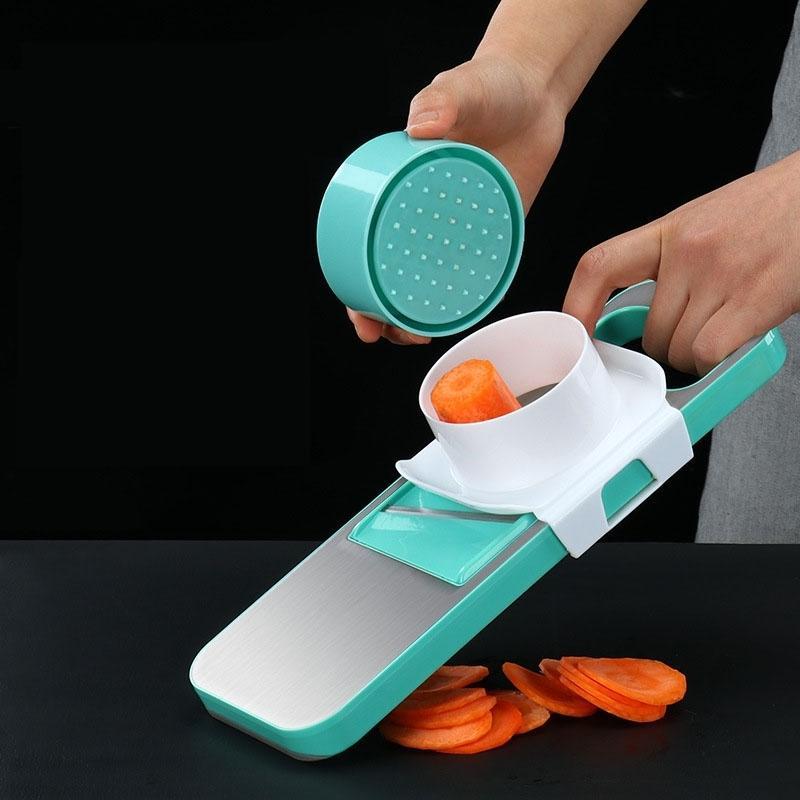 Multi-função Cortador de vegetais Mandolina Batata Ralador de Aço Inoxidável Slicer Slicer com suporte de ímã Protetor de mão 210326
