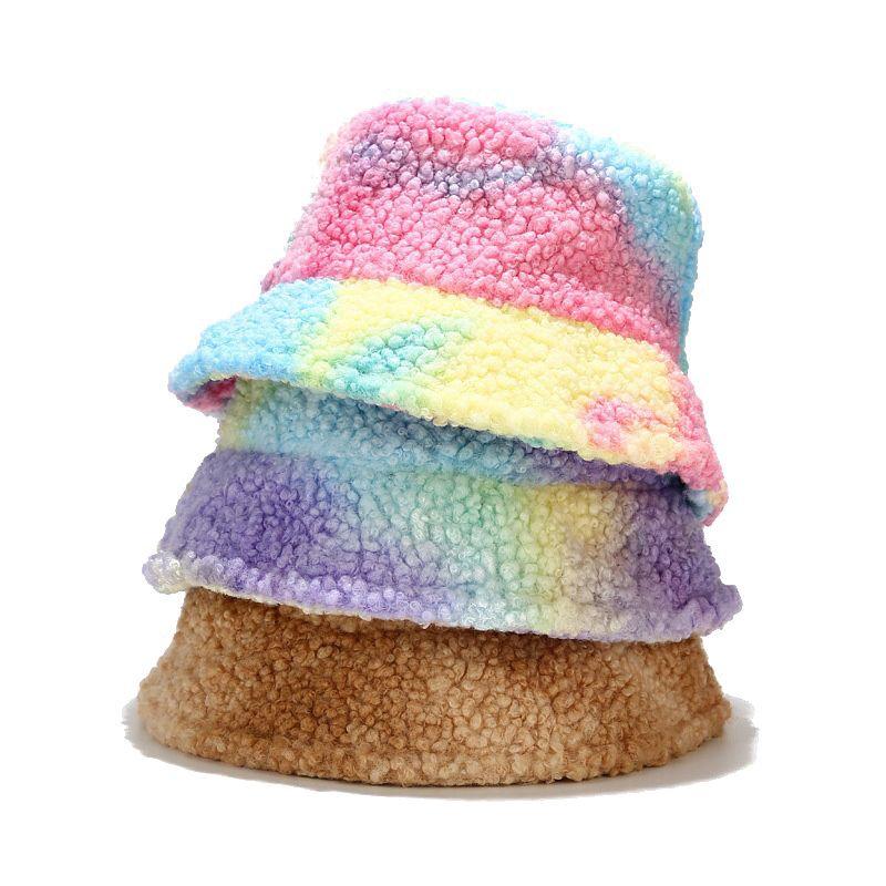 Inverno Chapéu de Pesca Fashion Coreano Gravata Tintura Multicolor Bucket Chapéu Mulheres Homens Quente Falão Pescador Fishermant Hat Bob Chapeau