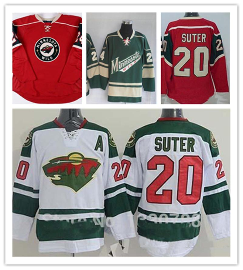 Factory Outlet Мужская Minnesota Wild 20 Райан SUTER # 24 Boogaard Зеленое красное Белое Белое Самое лучшее Качество Дешевые Хоккейские Хоккей Рубашка
