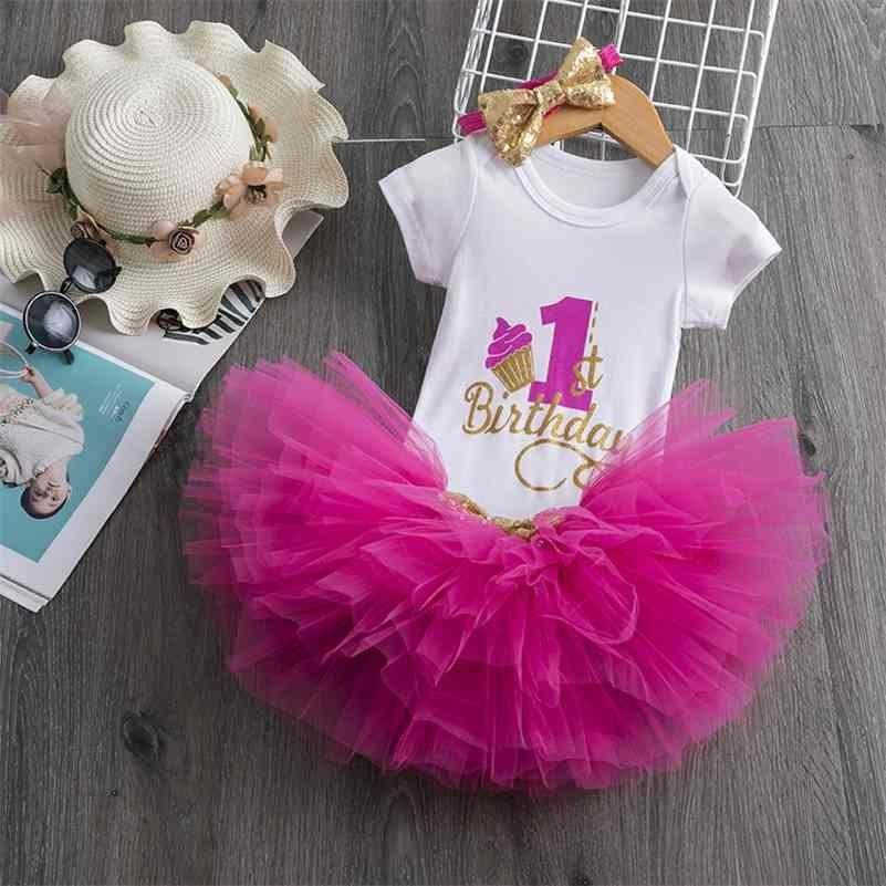 Infant Baby Girls Clothes 1st Birthday Party Dress Red Christmas Girl Tutu Dresses For 1 Year Christening Baptism Events Vestido 210427