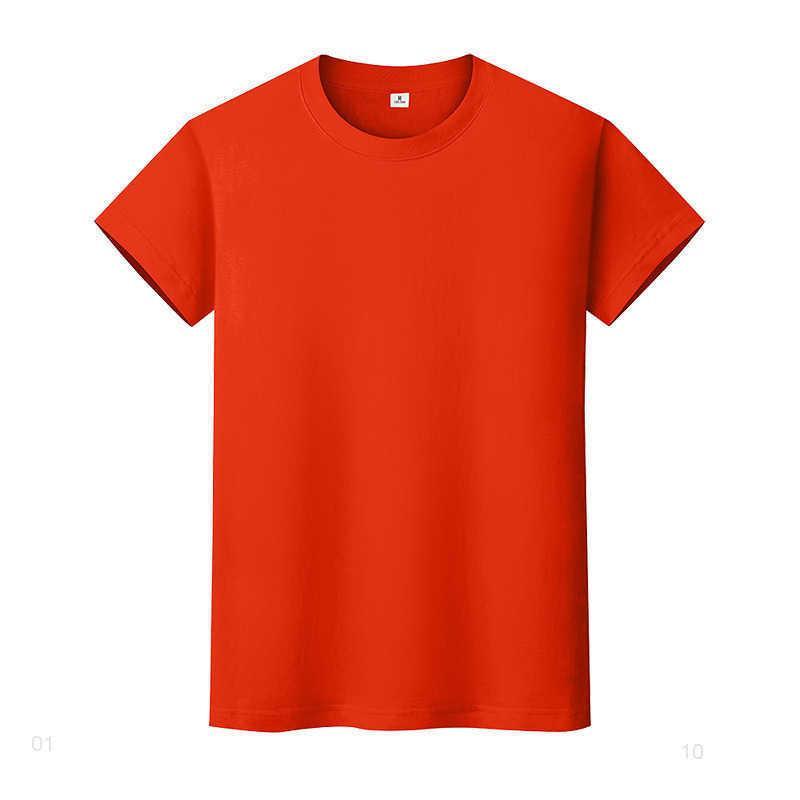 Новая круглая шея сплошная цветная футболка летняя рубашка с хлопковым дном с короткими рукавами и женским половиной рукава 46haii