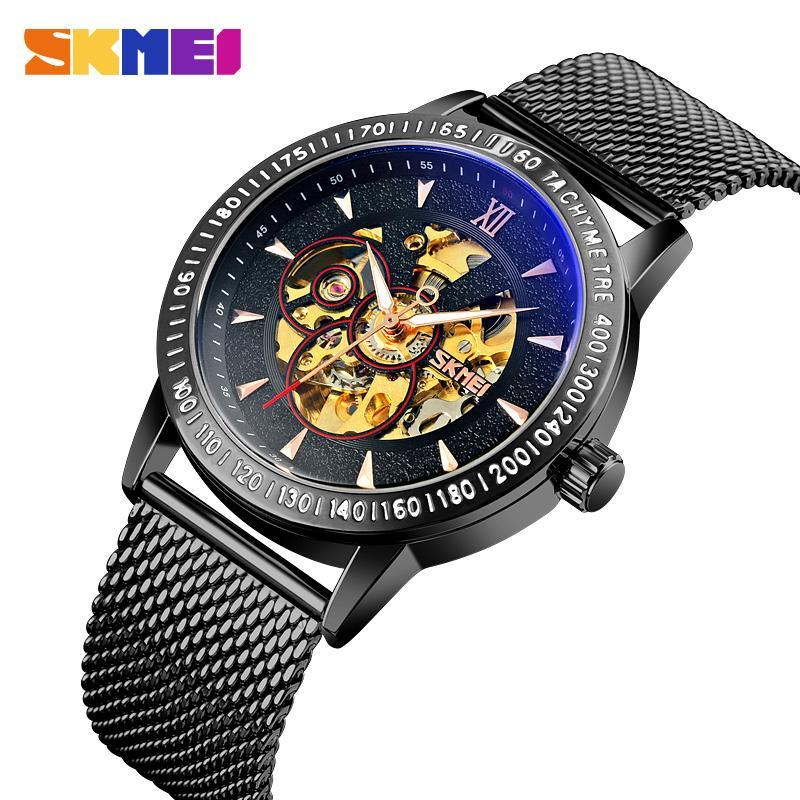 Armbanduhren Mode Uhr Männer Skeleton Automatische mechanische Gold Vintage Mann Herrenuhr Top Marke skmei luxus armbanduhr
