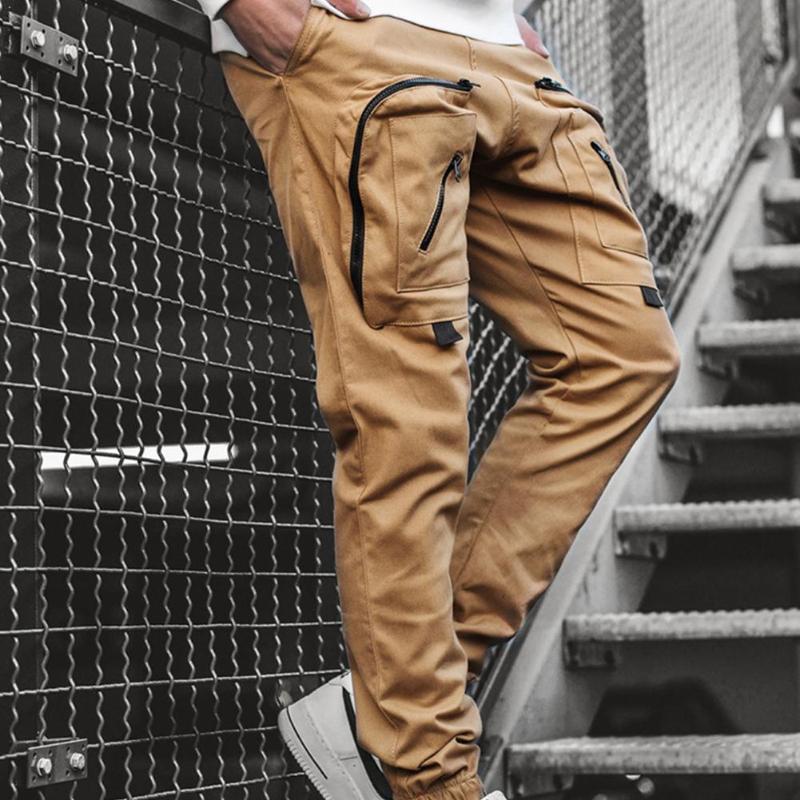 남성과 여성의 패션 인격 전반적 인 멀티 포켓 패브릭 바지 바지 짠 CA 캐주얼 F2W5