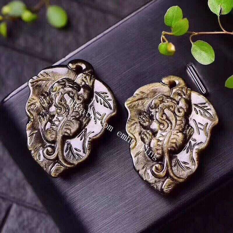 Ciondolo in pietra di energia naturale Feng Shui incisa Genuina Semi-preziosa Gemstone Gold Sheen Obsidian Leaf Pi Xiu Collana Guarigione Lucky Brave Truppe Charms Gioielli