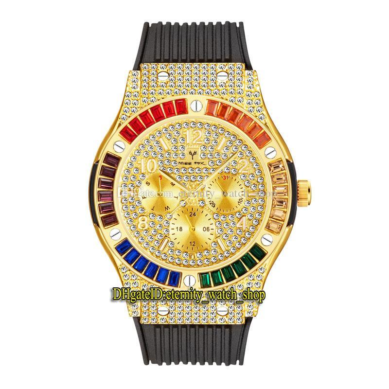 MissFox Eternidade V315 2 Hip Hop Moda Mens Mens Relógios CZ Diamond Inlay Dial Gold Quartz Movement Homens Assista Gelado Out Arco-íris Diamantes Bezel Liga de Bezel Caixa de borracha