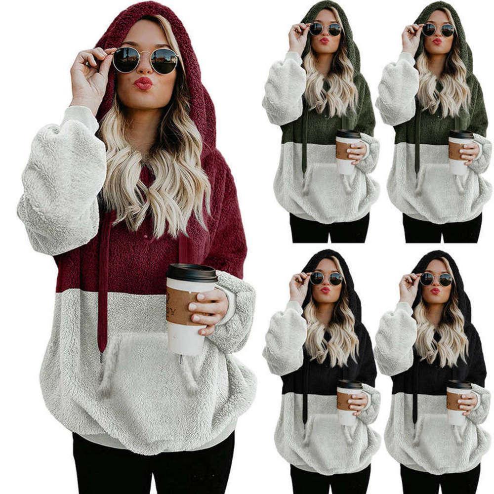 Señoras (con gorra, sin gorra) vendiendo otoño / invierno manga larga con capucha de manga larga empalme abrigo de suéter FC692