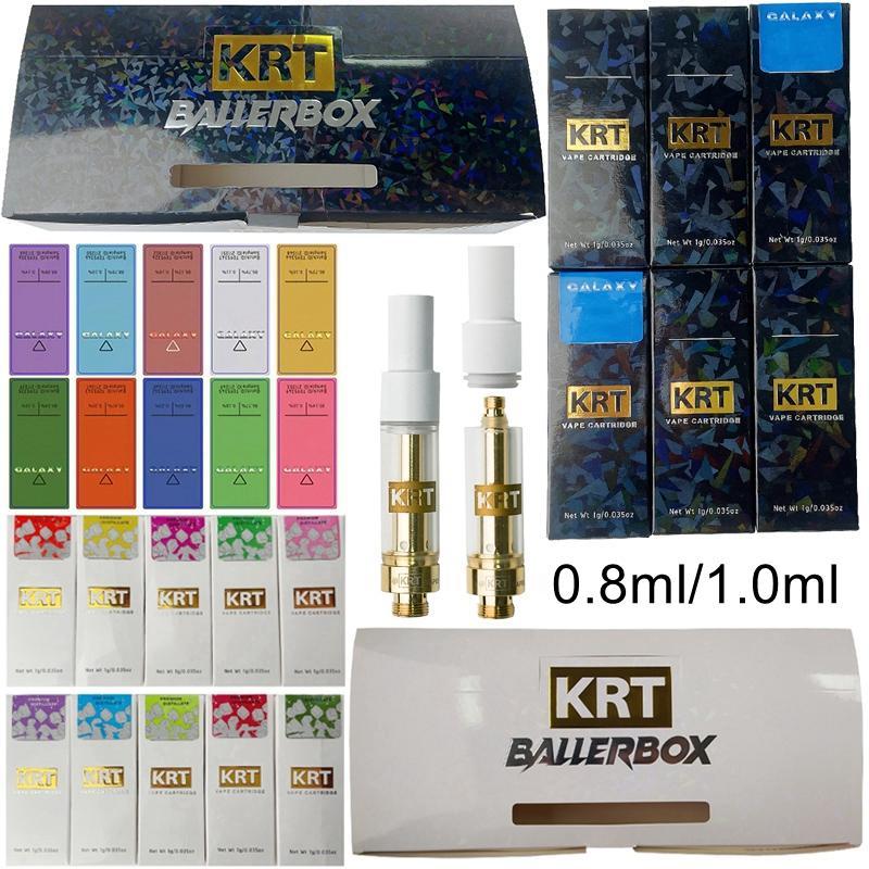 KRT Vape Cartucce di imballaggio Atomizzatori Ice Edition Galaxy Hologram Box 0.8ml 1ml Ceramica Vuota in ceramica Penna DAB Carrette 510 filettatura e sigarette vaporizzatore di cera