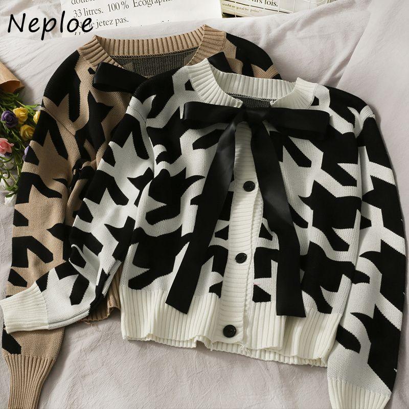 NAPHOE O Boyun Uzun Kollu Tek Meme Örgü Hırka Kadınlar Yay Tasarım Ekose İnce Çekin Femme Coat Bahar Yeni Sueter 210421