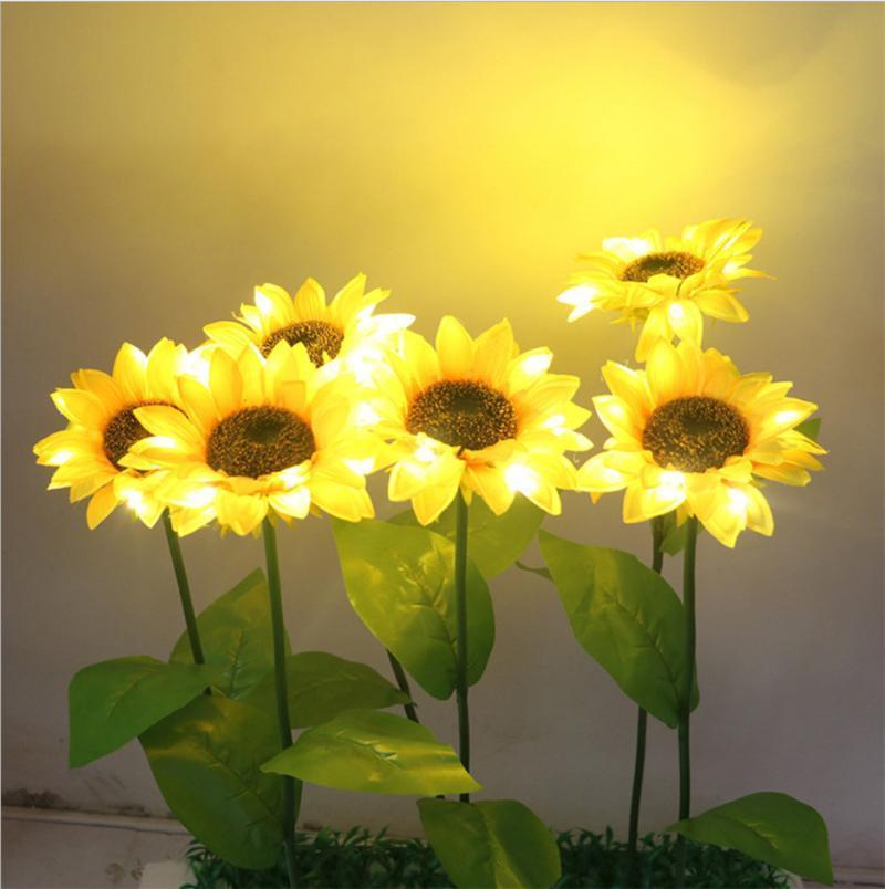 1 / 2 / 4pcs 야외 태양 해바라기 빛 방수 정원 LED 요정 안뜰 파티오 풍경 잔디 램프 램프