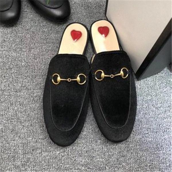 الرجال النساء النعال الناعمة البقر كسول النساء الأحذية الجلدية معدنية مشبك الشاطئ النعال البغال princetown الكلاسيكية سيدة النعال كبيرة EUR 34-45 G6KO #
