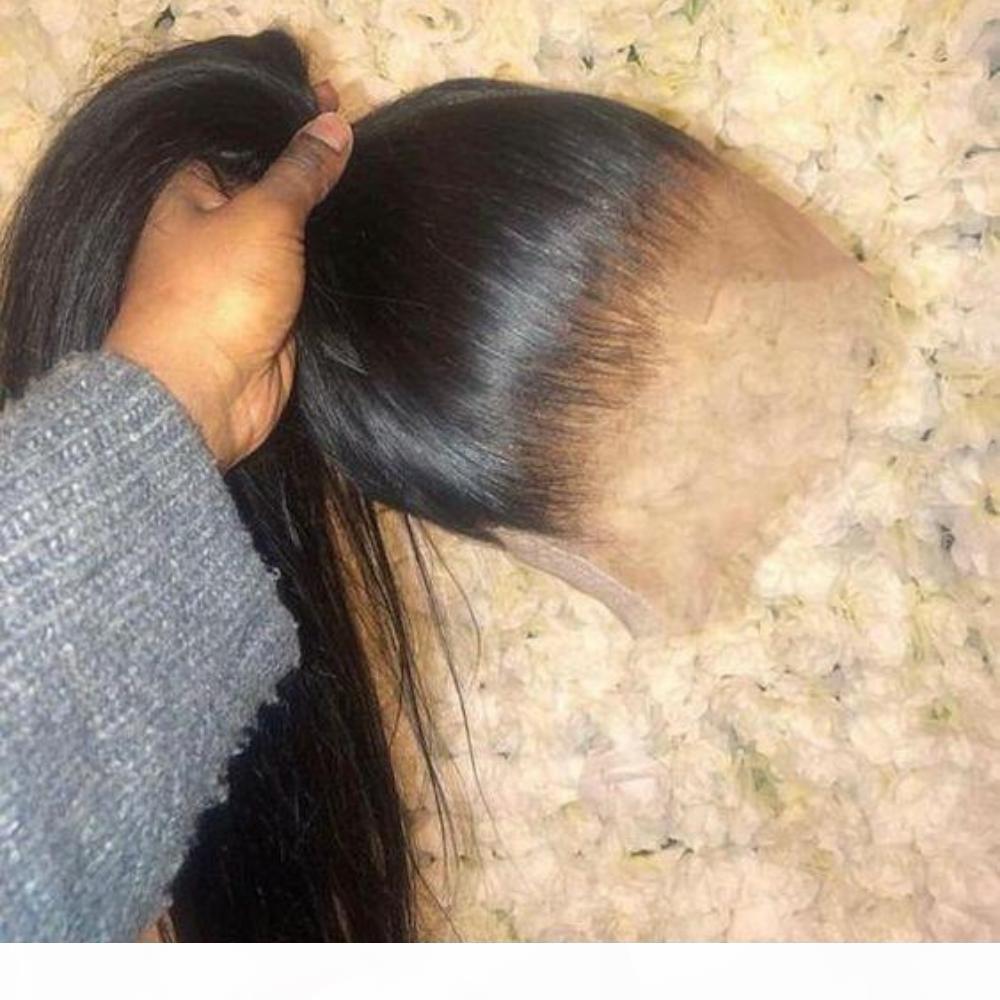 Pelucas de cabello humano del frente de encaje completo Remy Brasileño Straight Human Pein Pelucas de pelo 360 Peluca frontal de encaje Preparada con cabello bebé