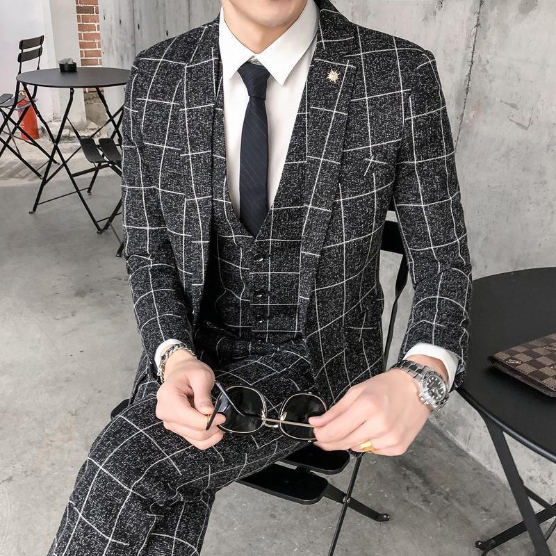 Lates Design Three-Piece For Men Wedding Groom Tuxedo Plaid Slim fit maschio Casual Suit Suit Show Boys 'Costume da uomo di alta qualità Abiti da uomo BL