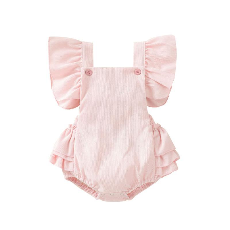 Mamelucos infantil nacido bebé niña verano mono de moda fuera del hombro sólido rosa mono patchwork outfit 0-24m