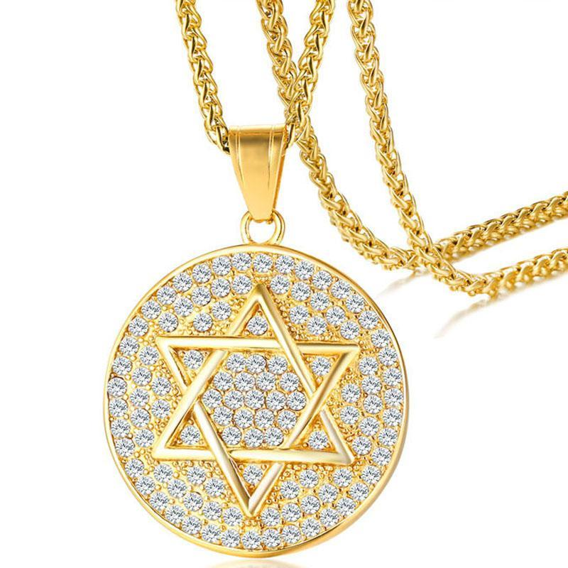 Kolye kolye zirkon altı yıldız kolye altın erkek paslanmaz çelik hediye adam aksesuarları takı boynunda arkadaş