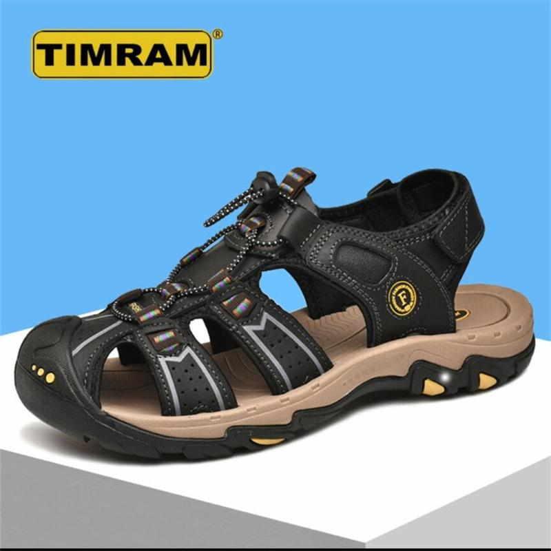 2021 summer sandals men's tide soft bottom non-slip casual full leather large size beach shoes 45 outer wear anti-sweat 46