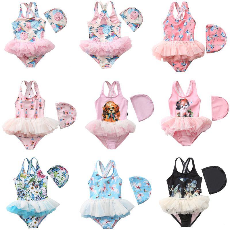 Detaljhandel / grossist baby flickor enstycken designer baddräkt med lock 20 färger barn flicka söt tecknad ballett prinsessan baddräkter simma bikinis bikinis
