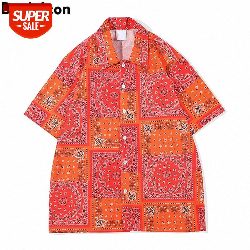 Bandana naranja camisa hawaiana hombres verano cuello turno hombre hombre ropa # gu5